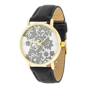 Gold Watch with Floral Print Dial - TW-14540-BLACK