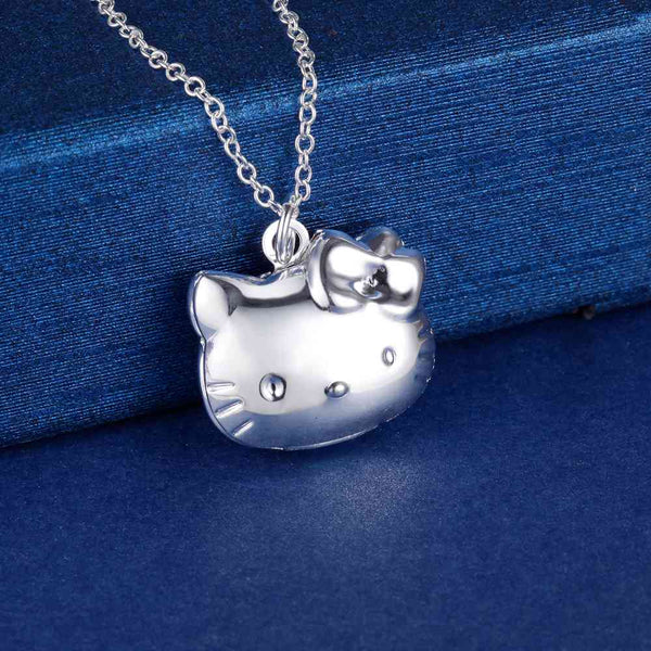 Silver Kitty Locket Necklace- LS AN1350