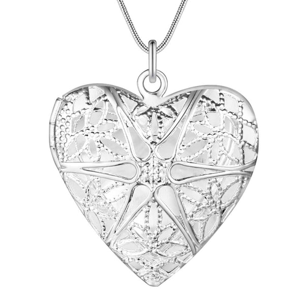 Silver Heart Locket Necklace- LS AN735
