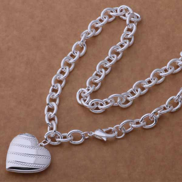 Silver Heart Locket Necklace- LS AN746