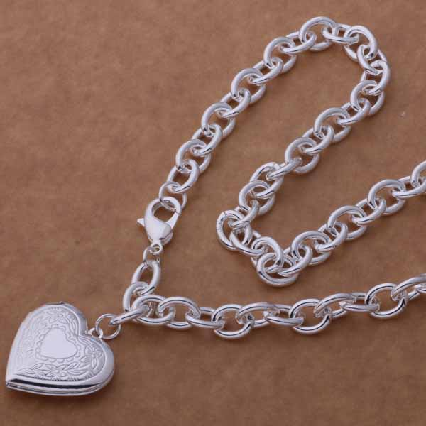 Silver Heart Locket Necklace- LS AN751
