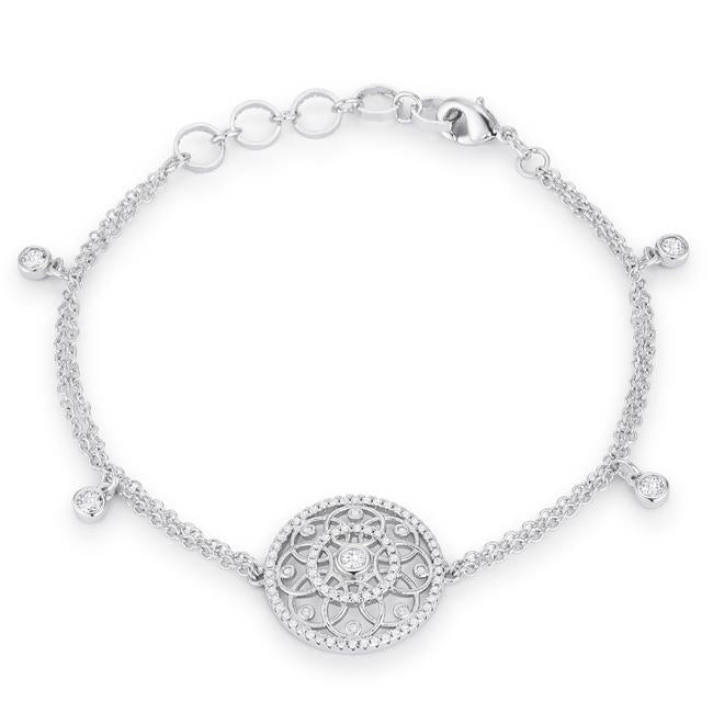 Rhodium Bracelet with Interlocking Circles and CZ .5 Ct - B01496R-C01