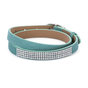 Stylish Turquoise Colored Wrap Bracelet with Crystals - B01497R-V02