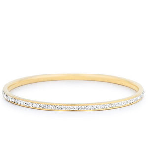 Simple Goldtone Finish Crystal Bangle - BC00068G-C02