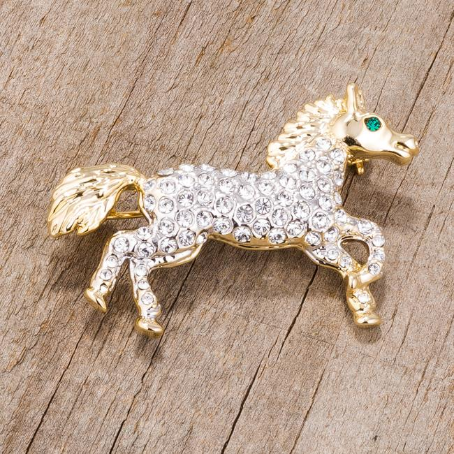 Two-Tone Horse Brooch with Crystals - BR00087T-V01