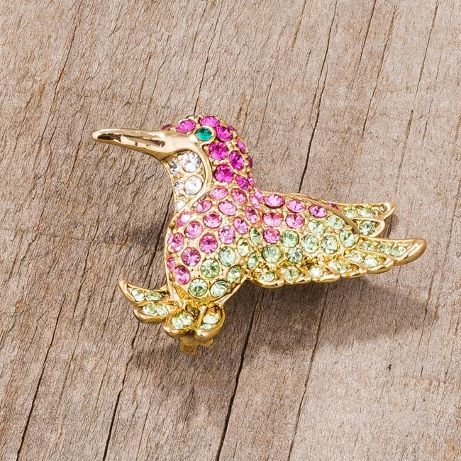 Multicolor Pink Humming Bird Brooch With Crystals - BR00088G-V01