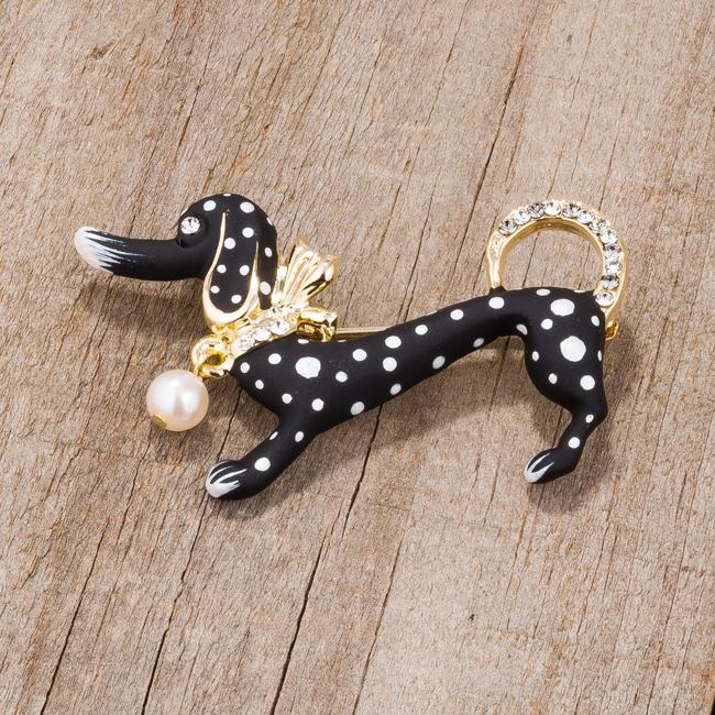 Black Dachshund Brooch With Crystals - BR00097G-V01