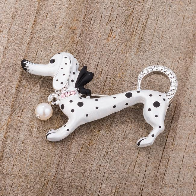 White Dachshund Brooch With Crystals - BR00097R-V01