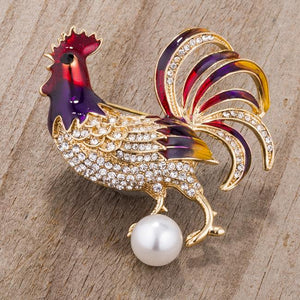 Gold Tone Multicolor Rooster Brooch With Crystals - BR00098G-V02
