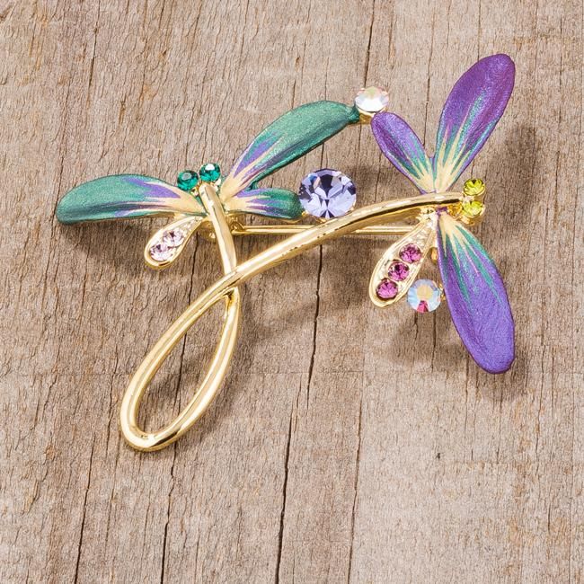 Gold Tone And Purple Dragonfly Brooch With Crystals - BR00099G-V02