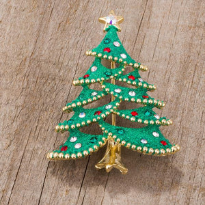 Christmas Tree Brooch With Crystals - BR00106G-V01