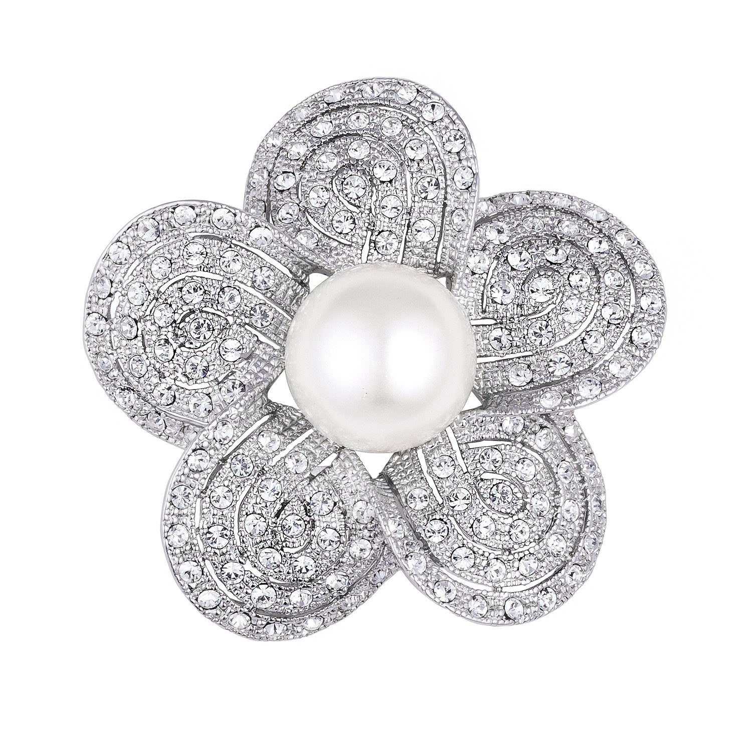 Rhodium Plated Crystal and Simulated Pearl Sakura Brooch - BR00110R-C84