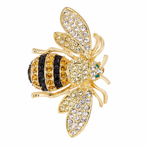 18k Gold Plated Golden Bumble Bee Crystal Brooch - BR00116G-V01