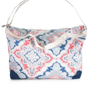 Karen Blue Multicolor Floral And Lace Duffle Bag - CO-CBG1001-BLUE
