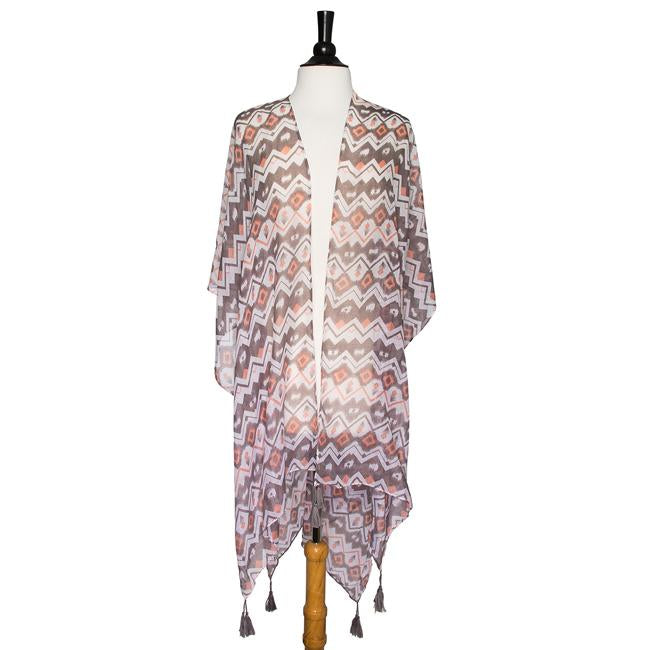 Grey Gena Geometric Print Shawl Cover Up With Tassels - CO-CMF3535-GREY