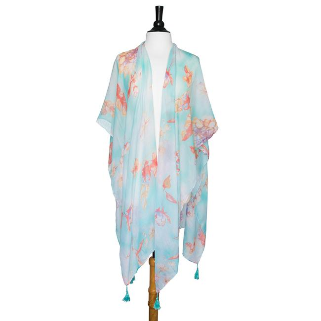 Mint Gloria Botanical Cover Up Shawl With Tassels - CO-CMF3539-MINT