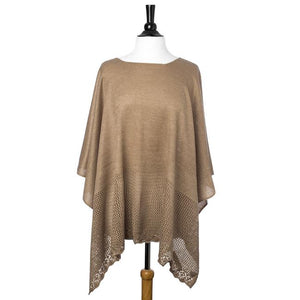 Taupe Lightweight Knitted Poncho - CO-CMF5125-TAUPE