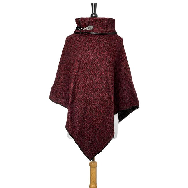 Burgundy Heathered Knit Poncho - CO-CMF5220-BURGUNDY