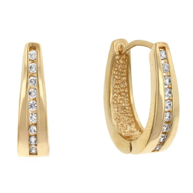 Elegant Goldtone Finish Cubic Zirconia Hoop Earrings - E01207G-C01