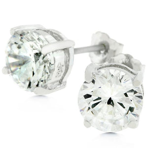 Clear Silver Round Studs 6.25 MM Earrings - E01220RS-S01-6.25MM