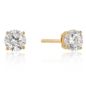 5mm New Sterling Round Cut Cubic Zirconia Studs Gold - E01736GS-S01-5MM