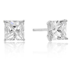 6mm New Sterling Princess Cut Cubic Zirconia Studs Silver - E01737RS-S01-6MM