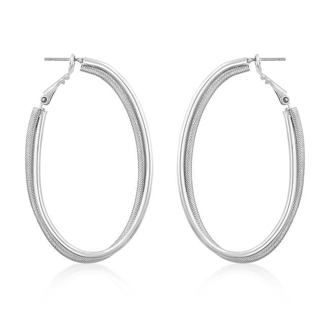 Two-Texture Hooplet Earrings - E01831RW-C00