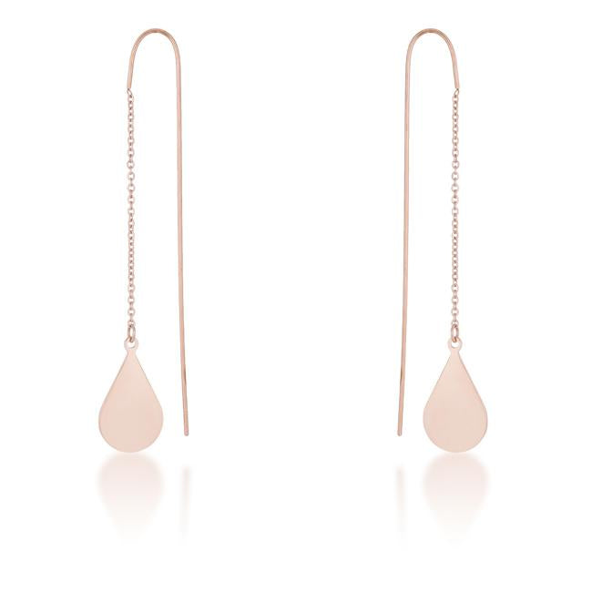 Chloe Rose Gold Stainless Steel Teardrop Threaded Drop Earrings - E01873A-V00