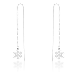 Noelle Rhodium Stainless Steel Snowflake Threaded Drop Earrings - E01874R-V00
