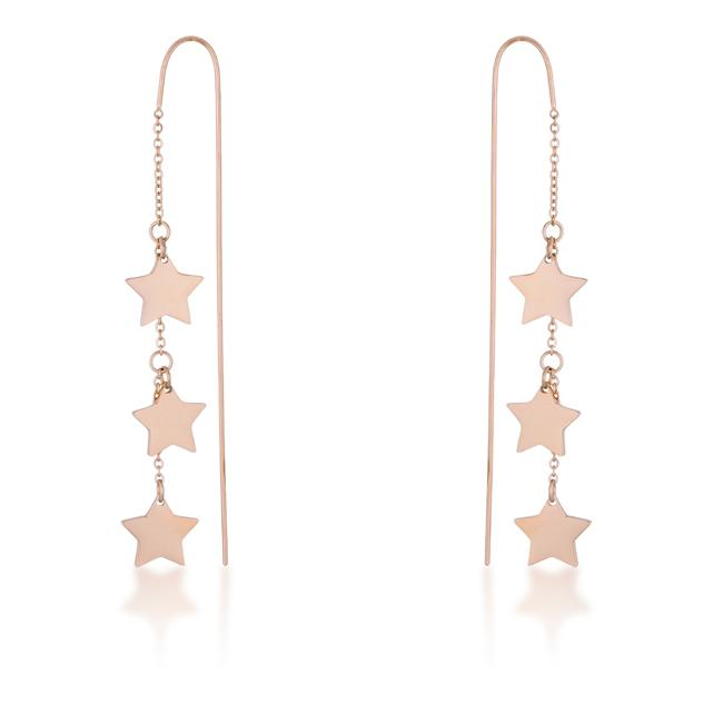 Reina Rose Gold Stainless Steel Delicate Star Threaded Drop Earrings - E01877A-V00