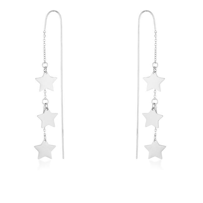 Reina Rhodium Stainless Steel Delicate Star Threaded Drop Earrings - E01877R-V00