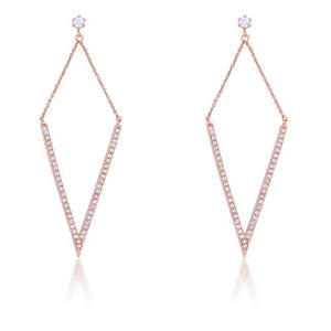Michelle 1.2ct CZ Rose Gold Delicate Pointed Drop Earrings - E01879A-C01