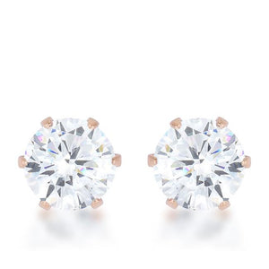 Reign 3.4ct CZ Rose Gold Stainless Steel Stud Earrings - E01884AV-C01