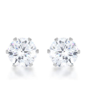 Reign 3.4ct CZ Rhodium Stainless Steel Stud Earrings - E01884RV-C01