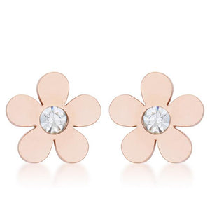 Daisy 0.3ct CZ Rose Gold Stainless Steel Flower Stud Earrings - E01886AV-S01