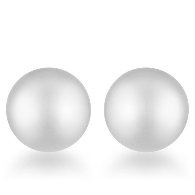 Julie Rhodium Sphere Stud Earrings - E01887RV-V00-8MM