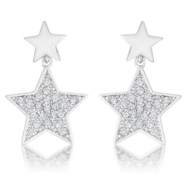 Bianca 0.5ct CZ Rhodium Star Drop Earrings - E01888R-C01