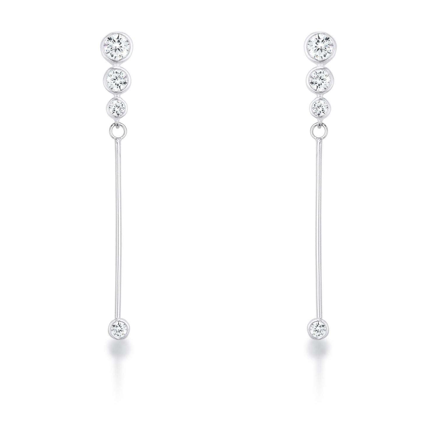 1.2Ct Graduated Rhodium Plated Drop Cubic Zirconia Earrings. - E01956R-C01