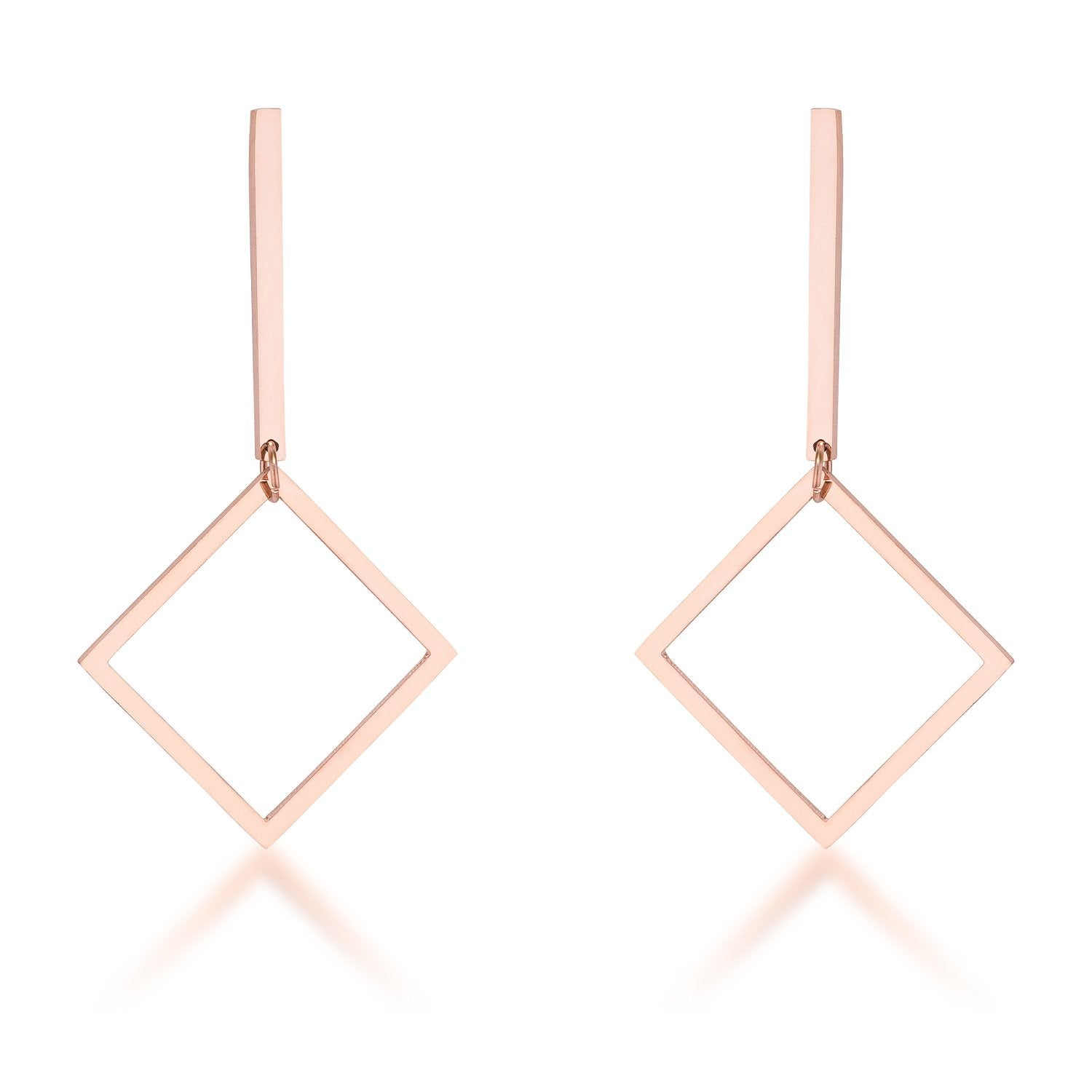 Trendy Geometric Stainless Steel Drop Earrings - E01960AV-V00