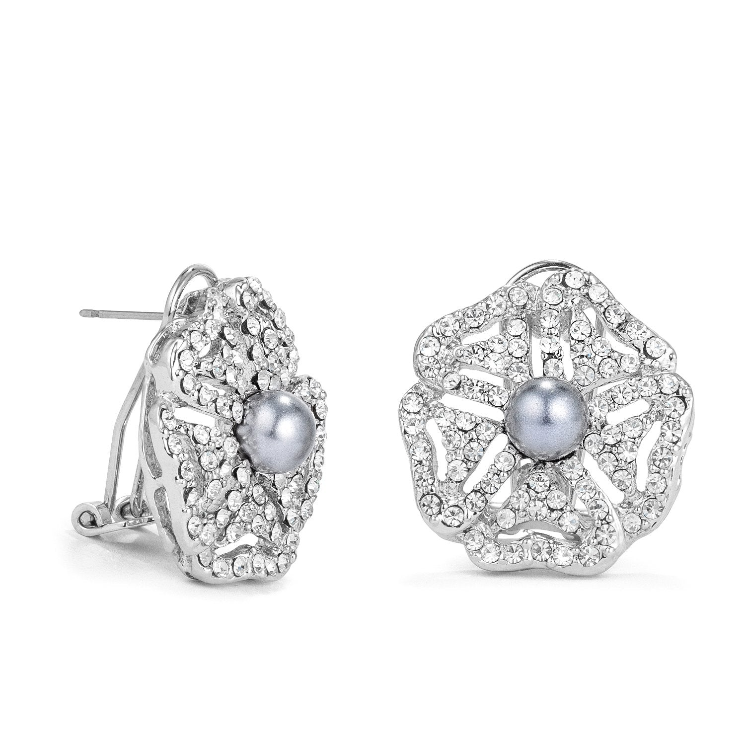 Antique Rhodium Plated CZ and Simulated Grey Pearl Bridal Earrings - E01962R-C82
