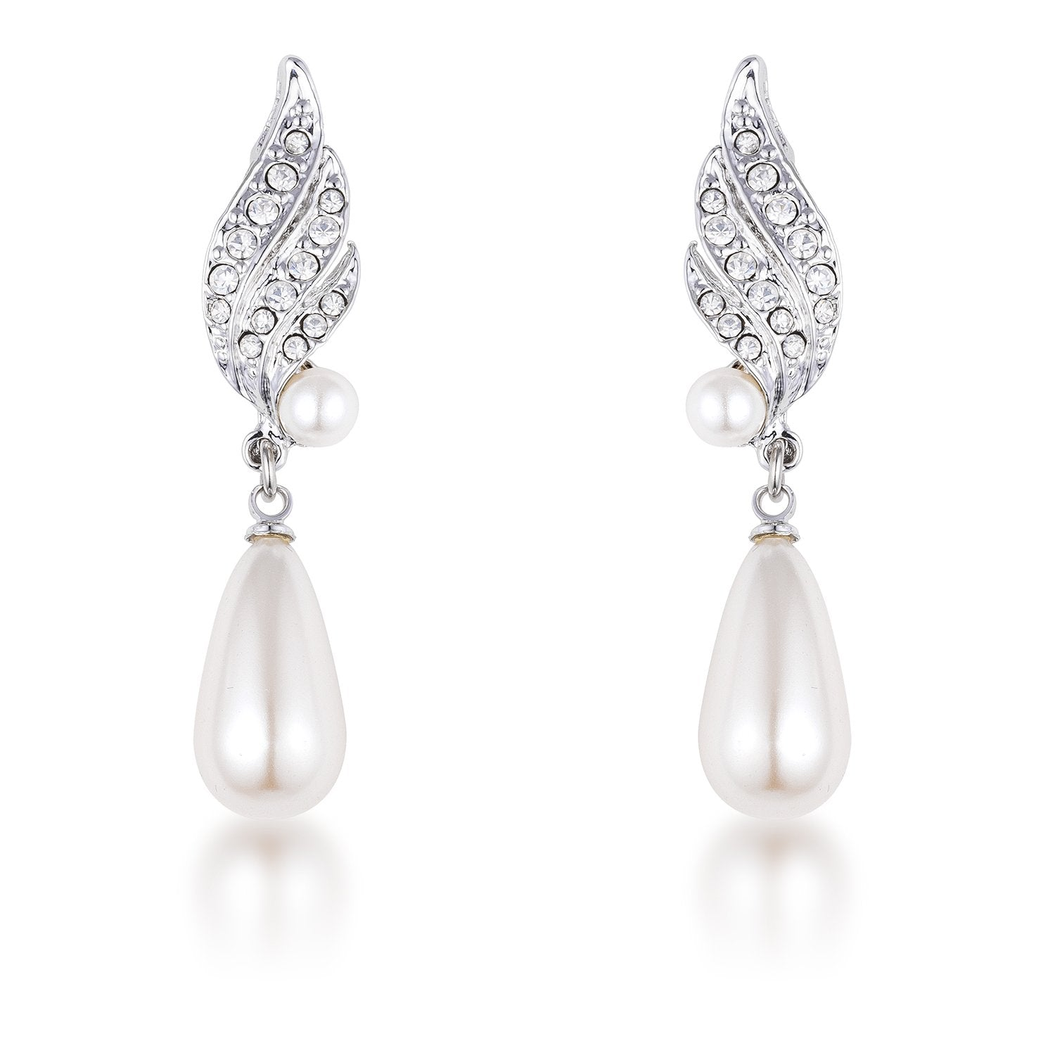 Rhodium Plated Simulated Pearl and Crystal Bridal Drop Earrings - E01964R-C84