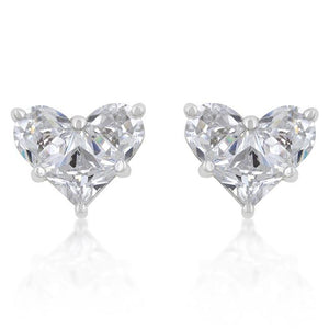 White Cubic Zirconia Heart Stud Earrings - E20066R-C01