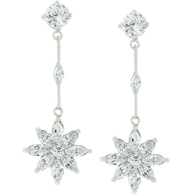 Star Cubic Zirconia Drop Earrings - E20091R-C01