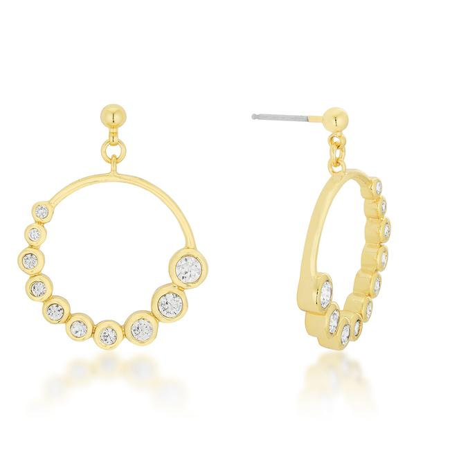 Golden Graduated Cubic Zirconia Circle Earrings - E50053G-C01
