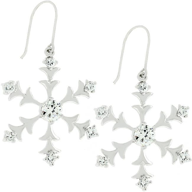 Silver Snowflake Dangle Earrings - E50059R-C01