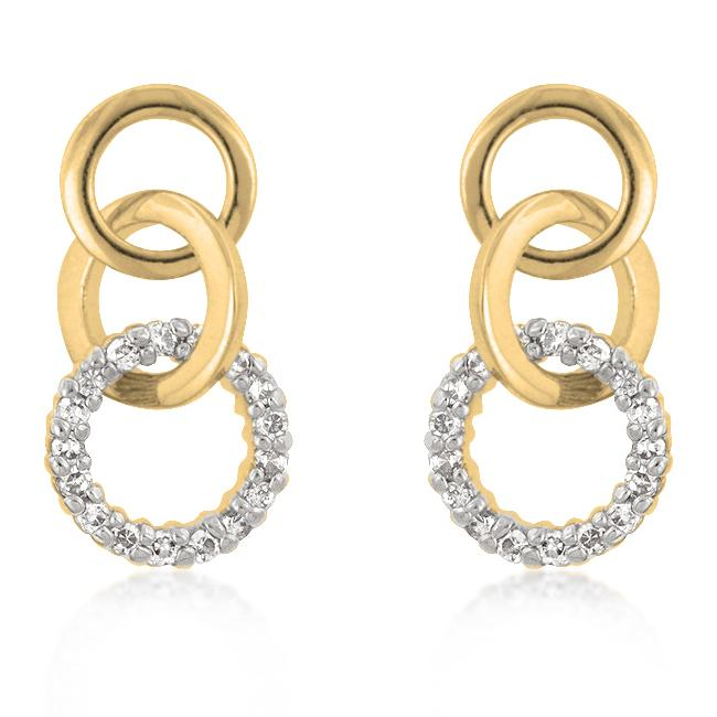 Goldtone Finish Triplet Hooplet Earrings - E50098T-C01
