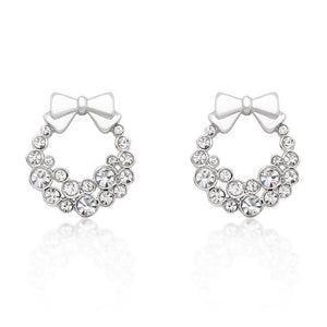 Holiday Wreath Clear Crystal Earrings - E50160R-C02