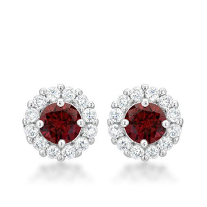 Bella Bridal Earrings in Garnet Red - E50163R-C13