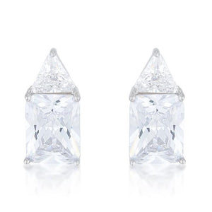 Classic Cubic Zirconia Sterling Silver Stud Earrings - E50176RS-C01