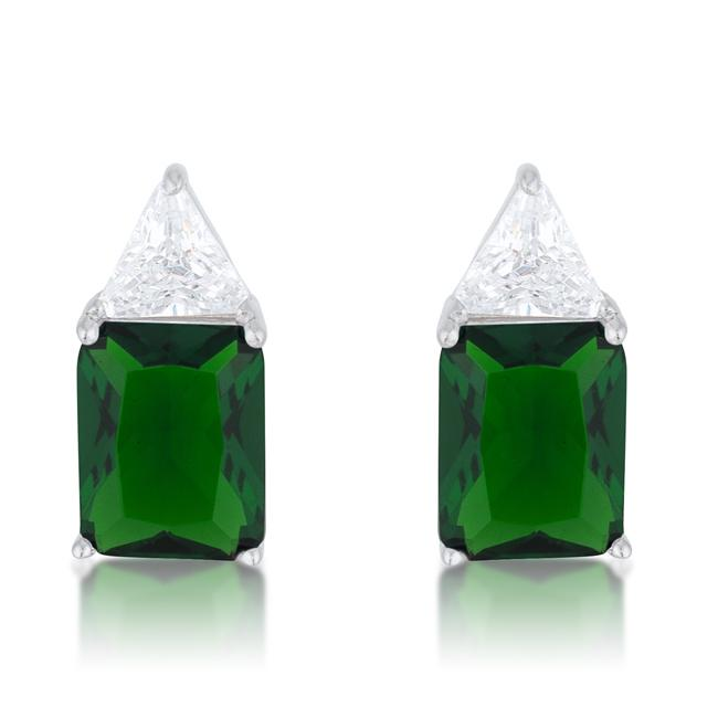 Classic Emerald Cubic Zirconia Sterling Silver Stud Earrings - E50176RS-C40